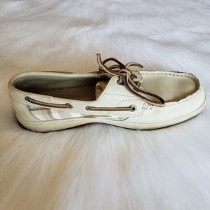 Sperry Top-Sider Beige & Plaid Boat Shoe 7.5